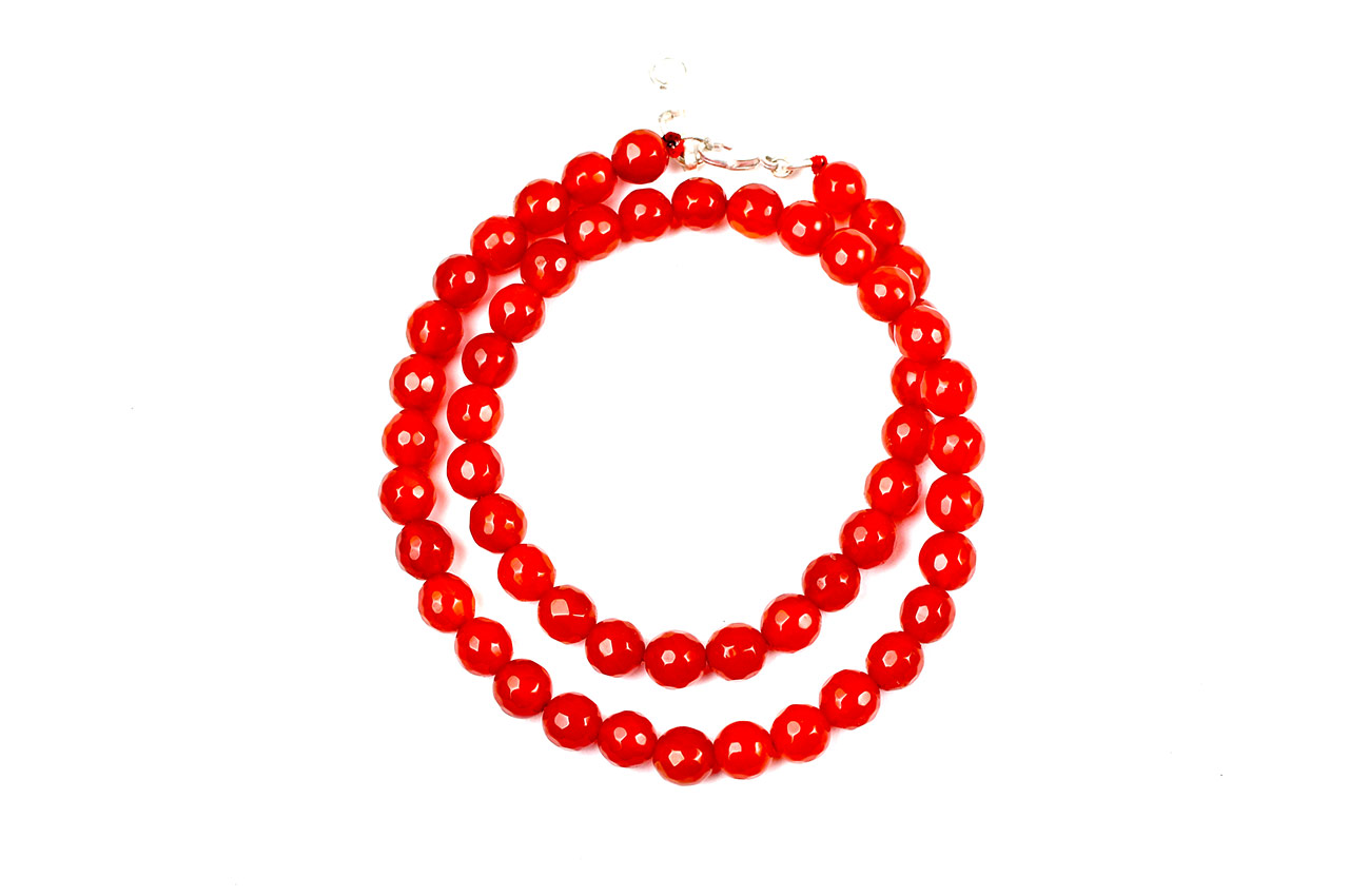 Red Carnelian mala Faceted - 8mm