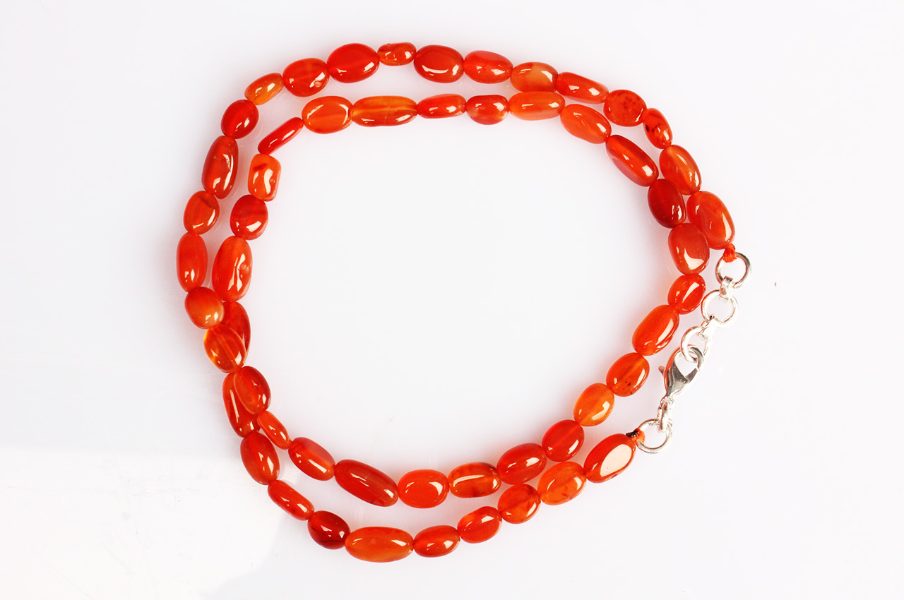 Red Carnelian Oval mala - 7 mm