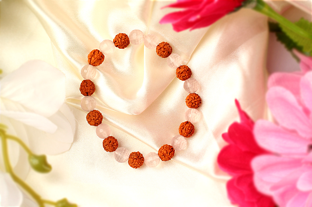 Rose Quartz and Five Mukhi Bracelet
