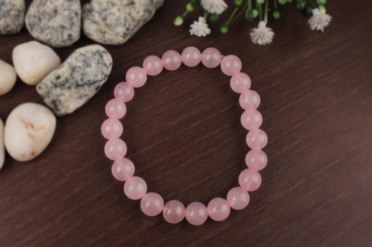 Rose Quartz Round Bracelet - 8mm