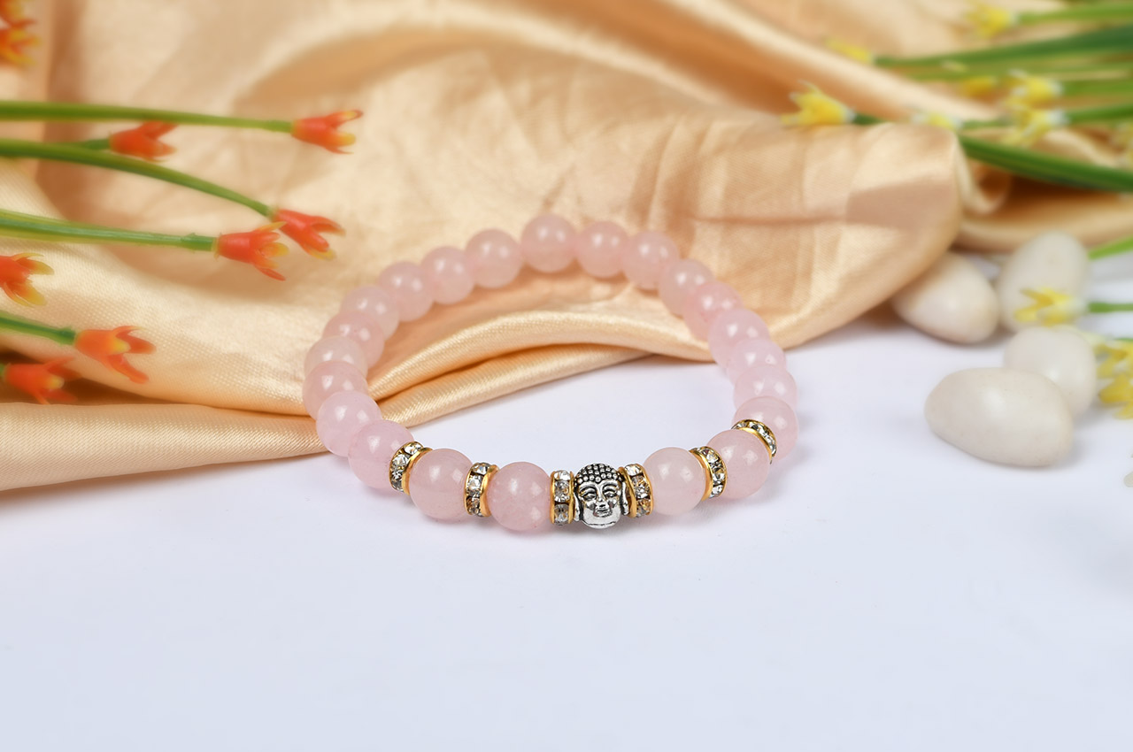 Rose Quartz with Buddha Bracelet - 8mm