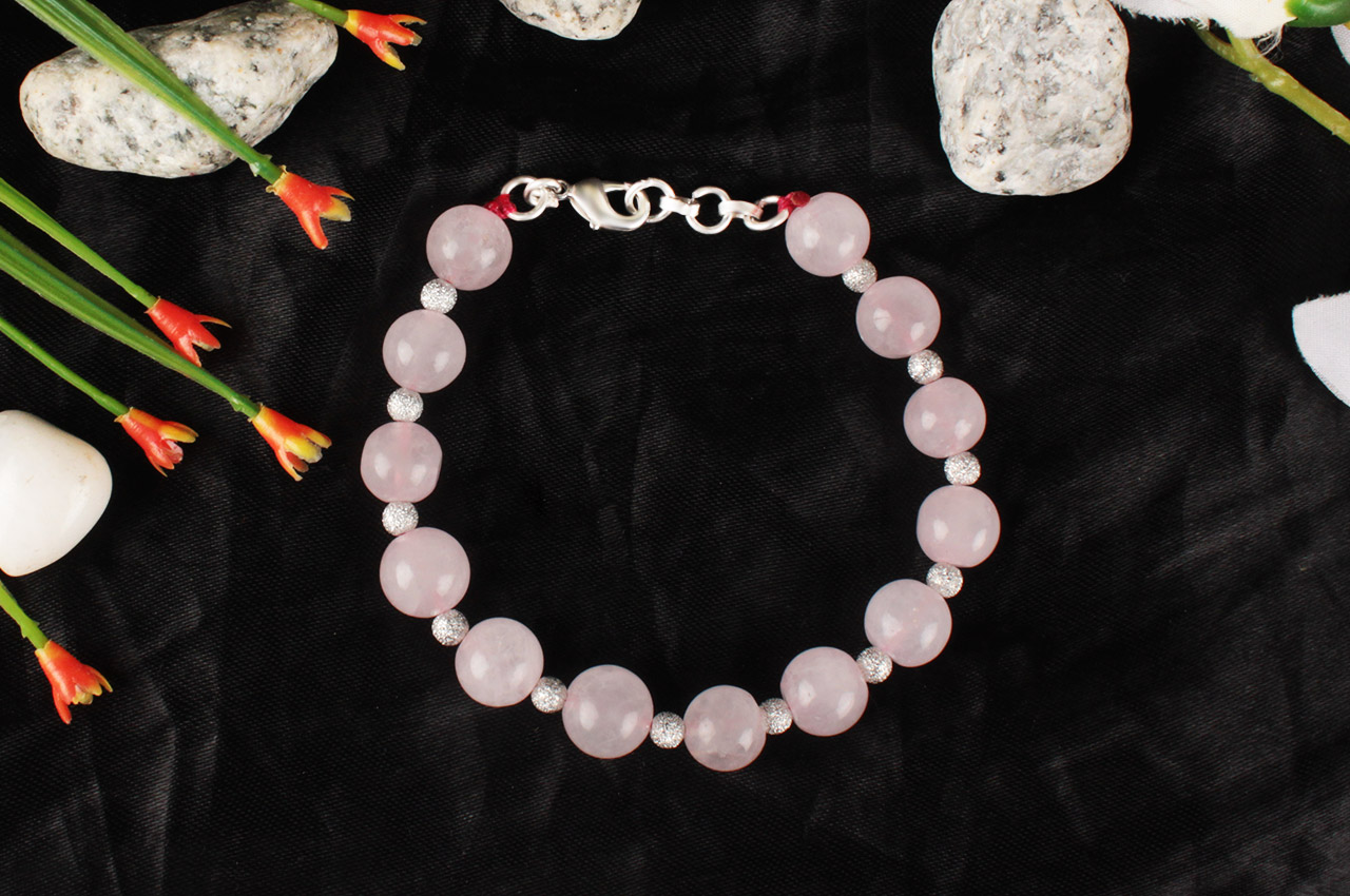 Round Rose Quartz Bracelet - Design I