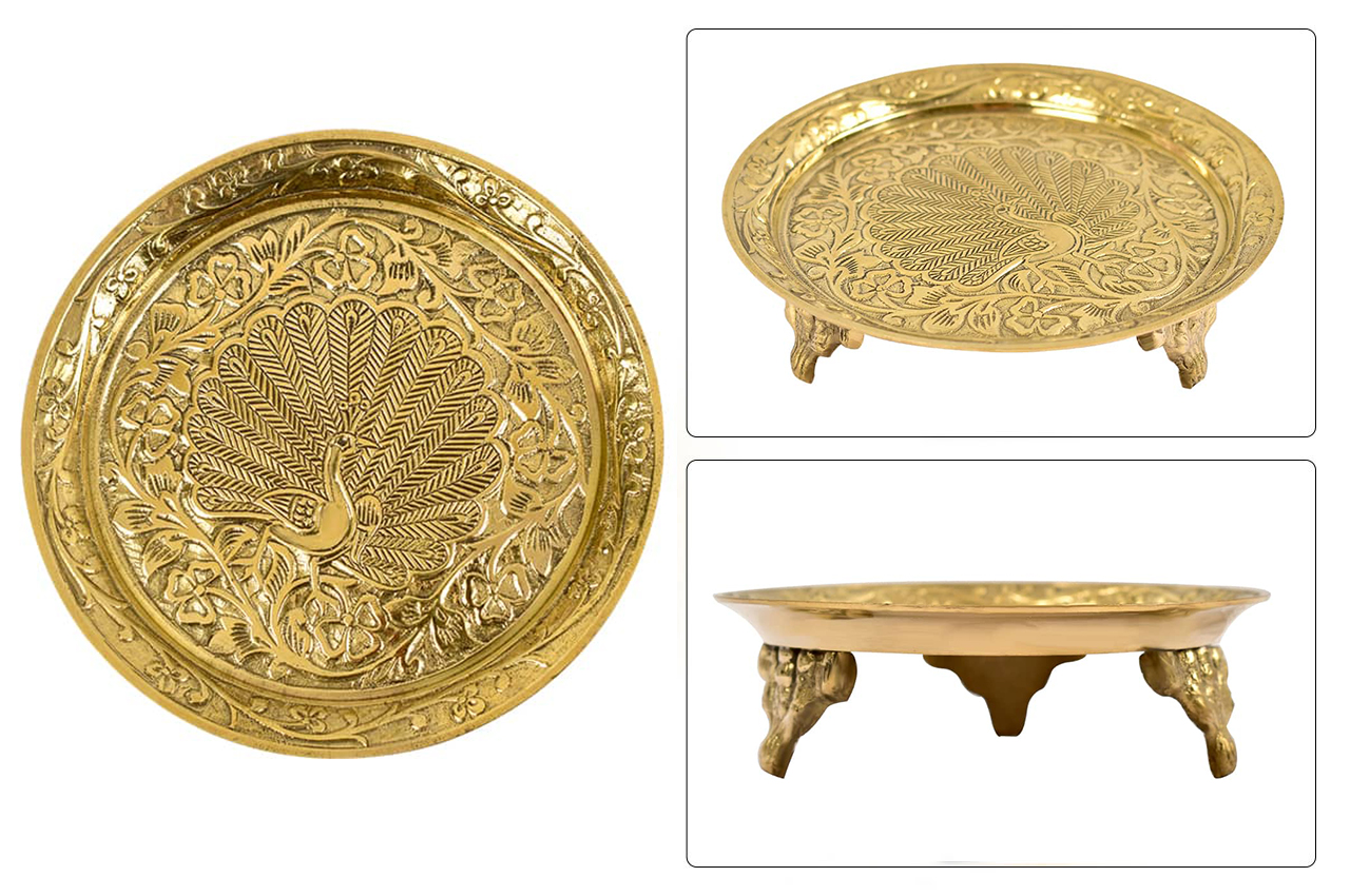 Rounded Pedestal Thali in brass