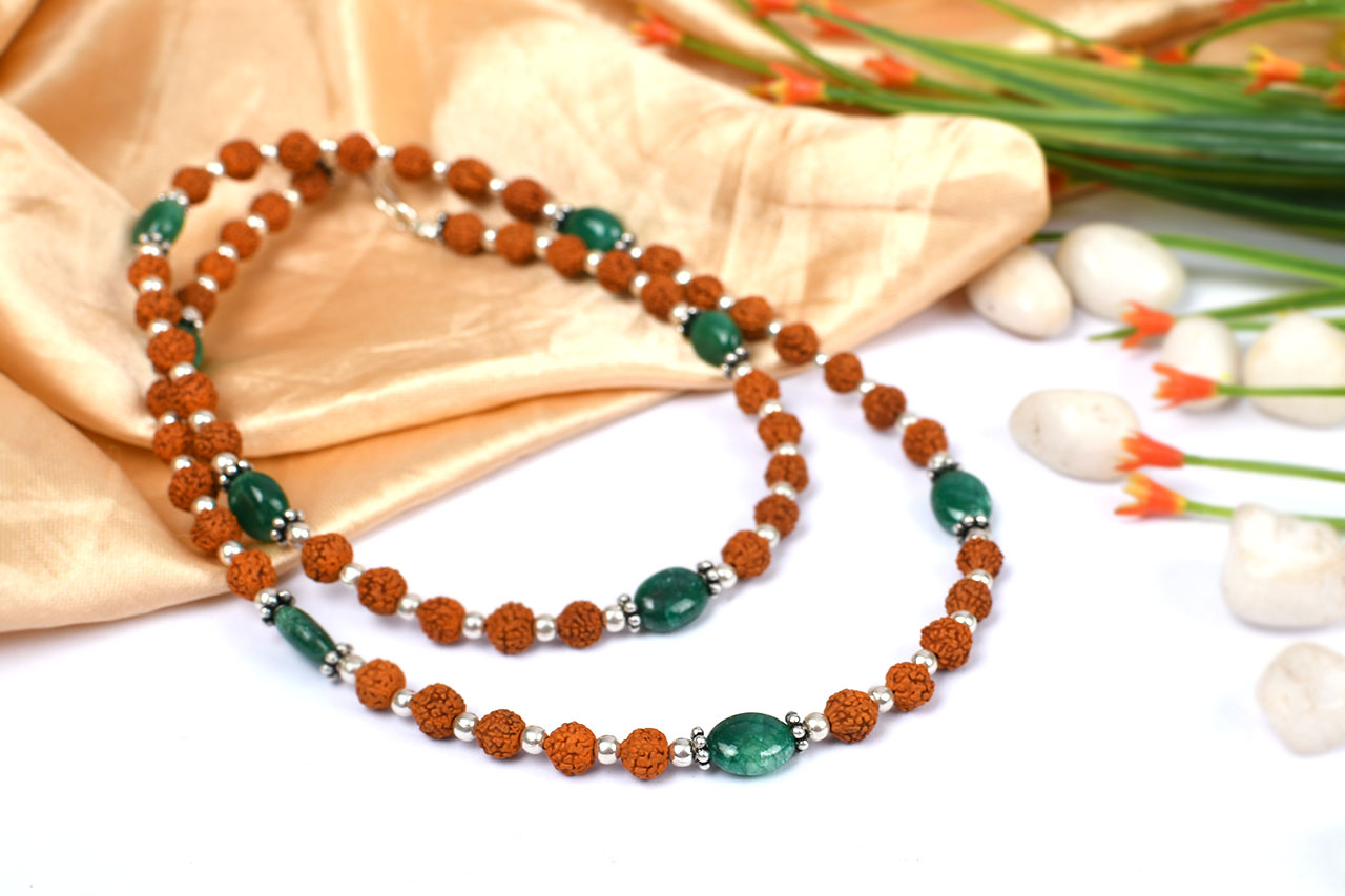 Rudraksha and Emerald mala