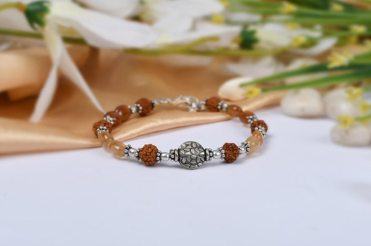 Rudraksha and Gomed Bracelet