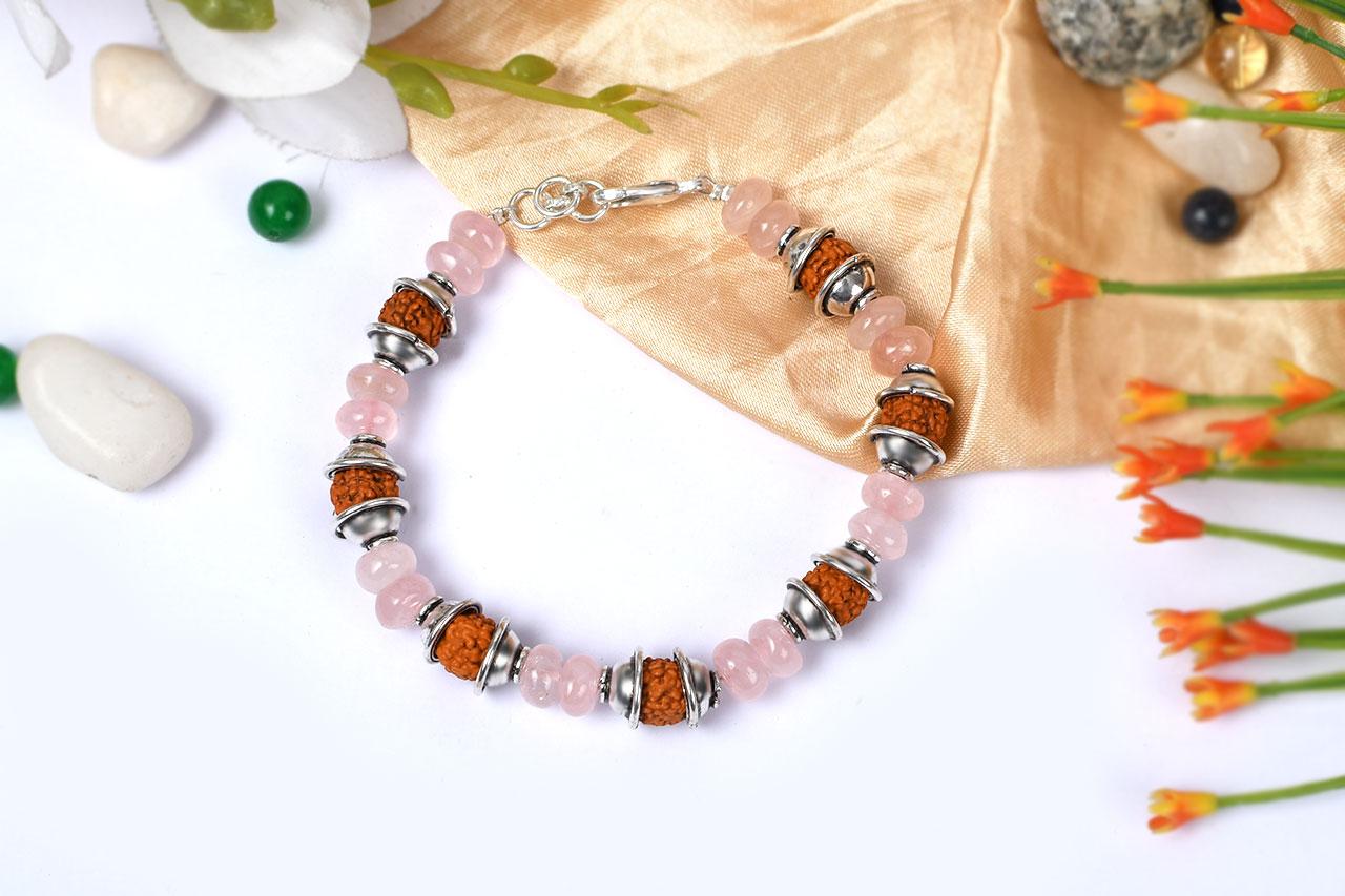 Rudraksha and Rose Quartz Bracelet - II
