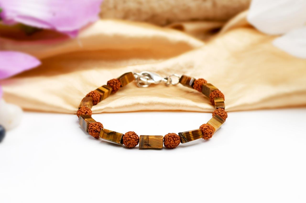 Rudraksha and Tiger Eye bracelet - Design II