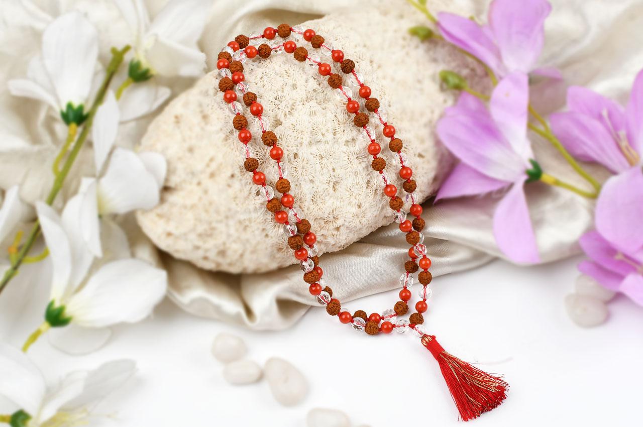 Rudraksha Coral and faceted Sphatik mala in thread