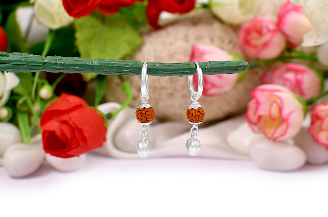 Rudraksha Earrings with Heart locket