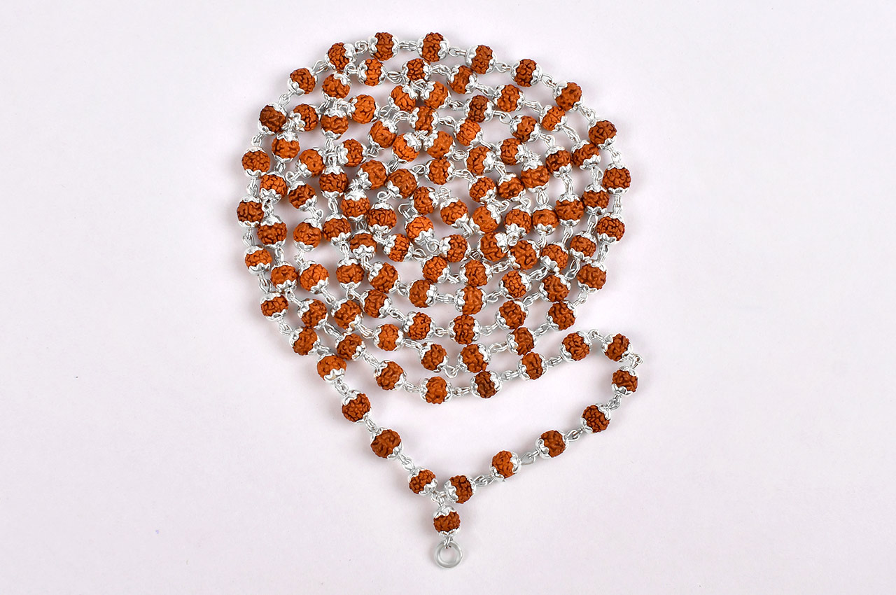 Rudraksha mala in silver wire with flower caps