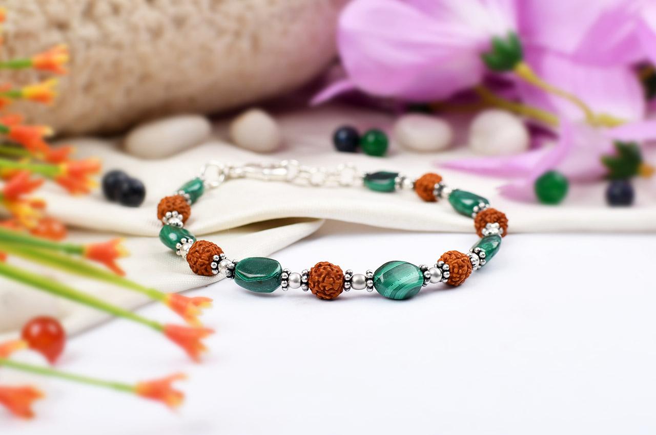 Rudraksha Malachite Bracelet - Design III
