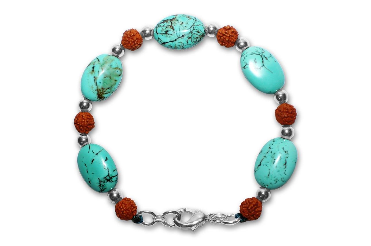 Rudraksha Turquoise Bracelet  - IV