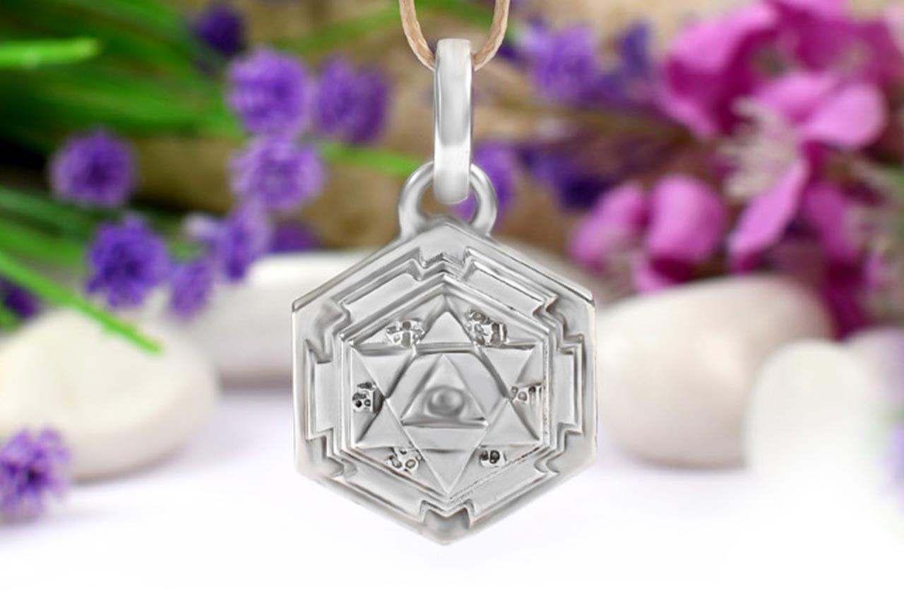 Shiva Yantra Locket in Silver - 3D