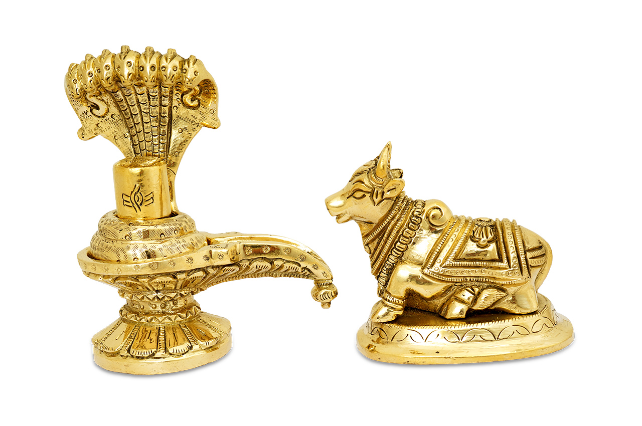 Shivaling with Nandi in Brass