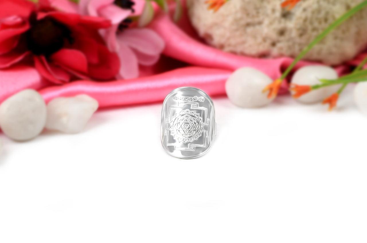 Shree Baglamukhi Yantra Ring in Silver