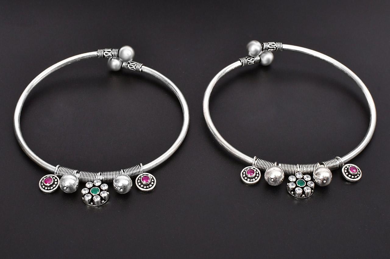 Silver Anklets - Set of 2 - Design - I