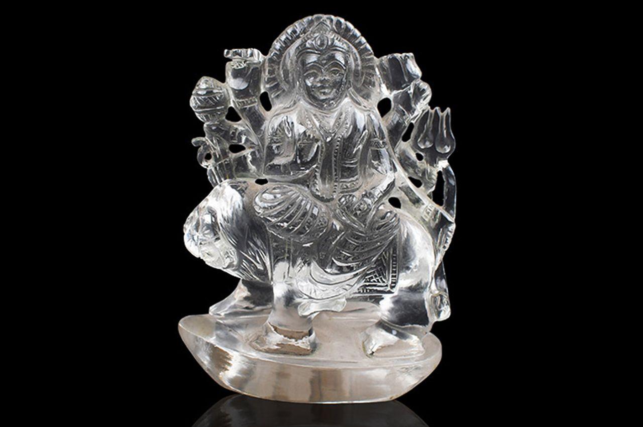 Sphatik Crystal Durga Idol - 270 gms