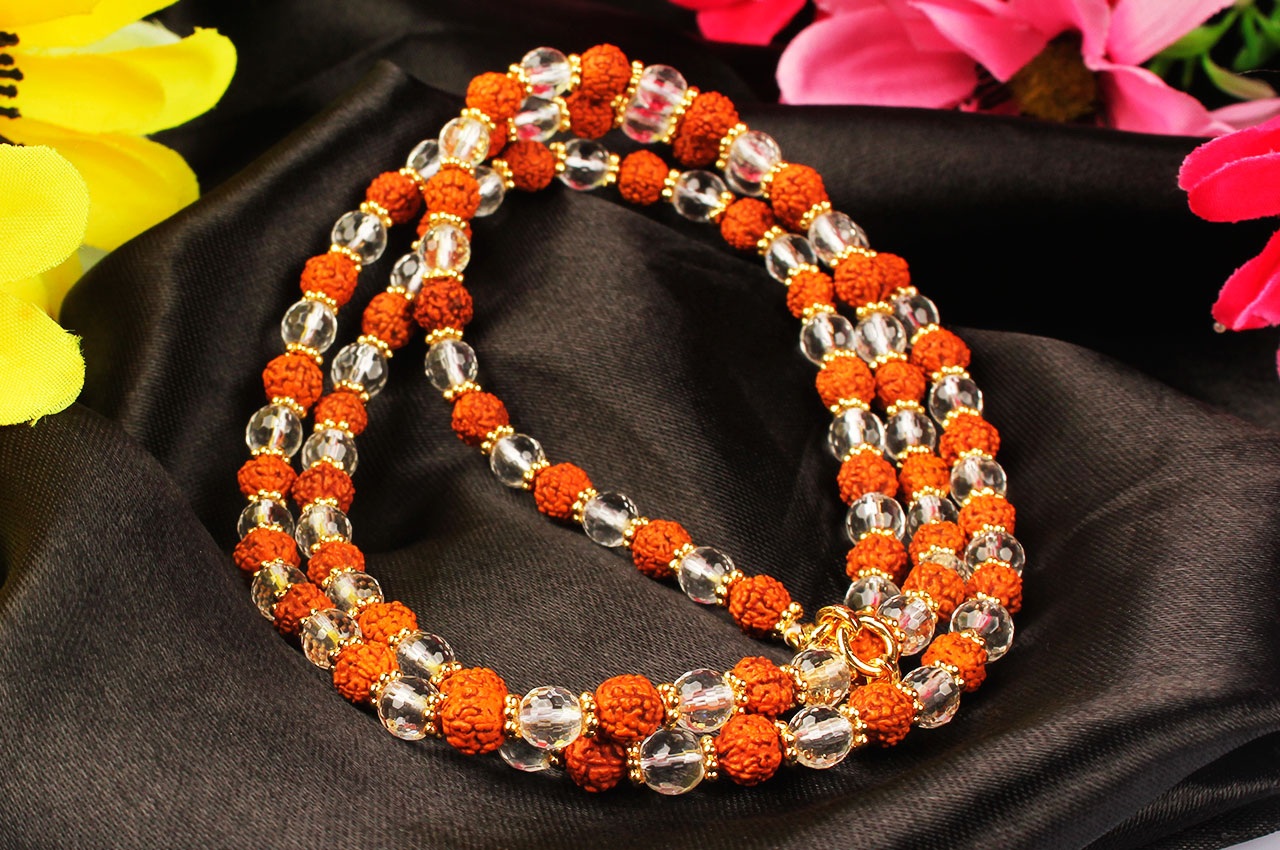 Sphatik diamond cut  and  Rudraksha  mala in thread with gold polished flower spacers