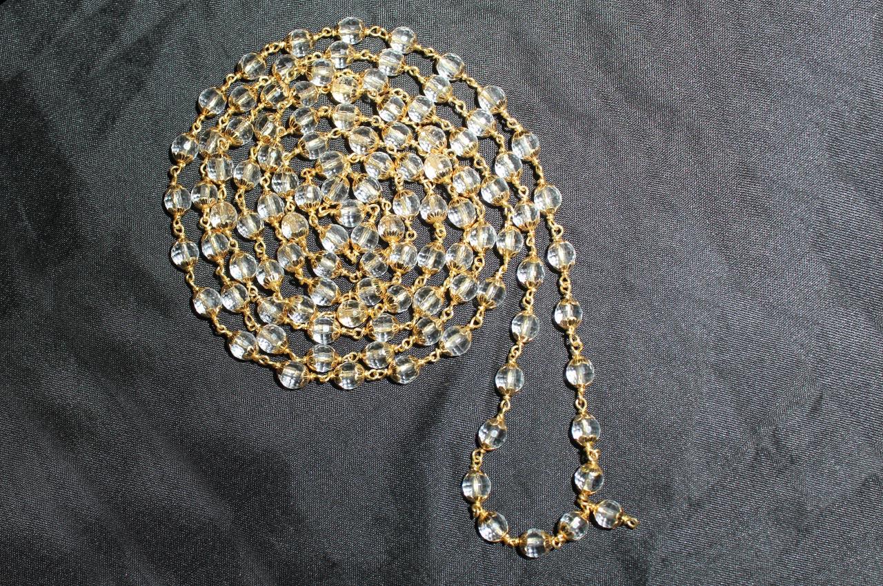 Sphatik Diamond cut mala in gold - 6mm