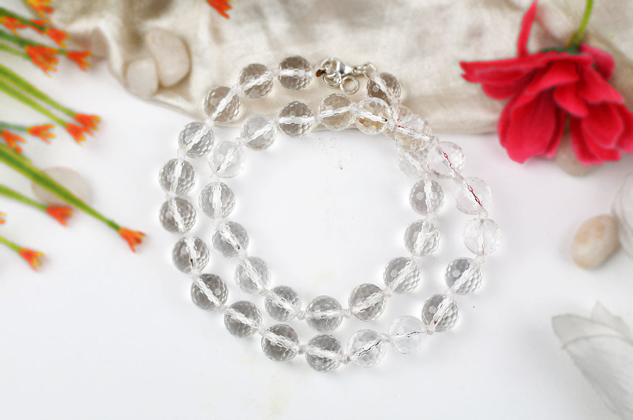 Sphatik round faceted mala - 12mm