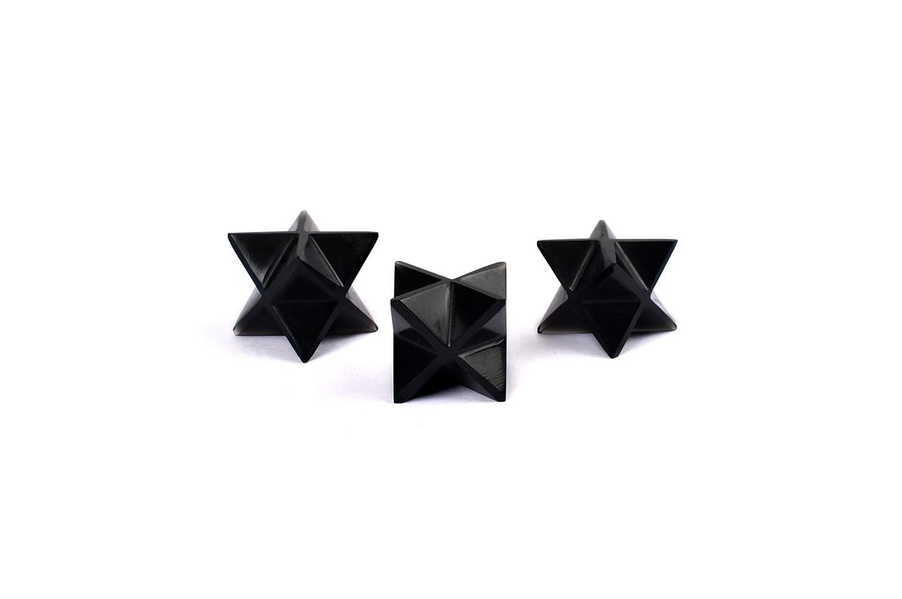 Star Pyramid in Black Jade - Set of 3