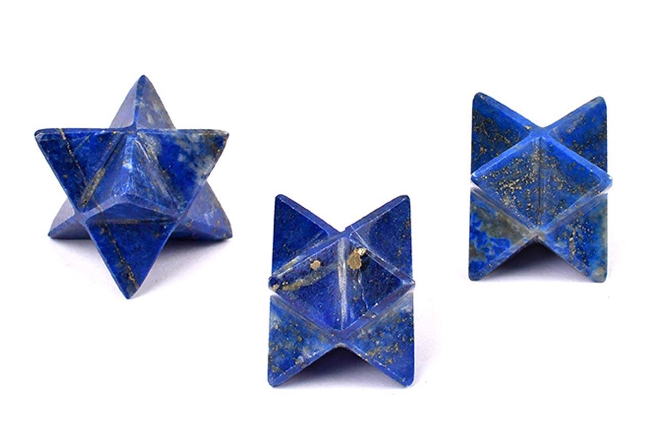 Star Pyramid in Lapis Lazuli - Set of 3
