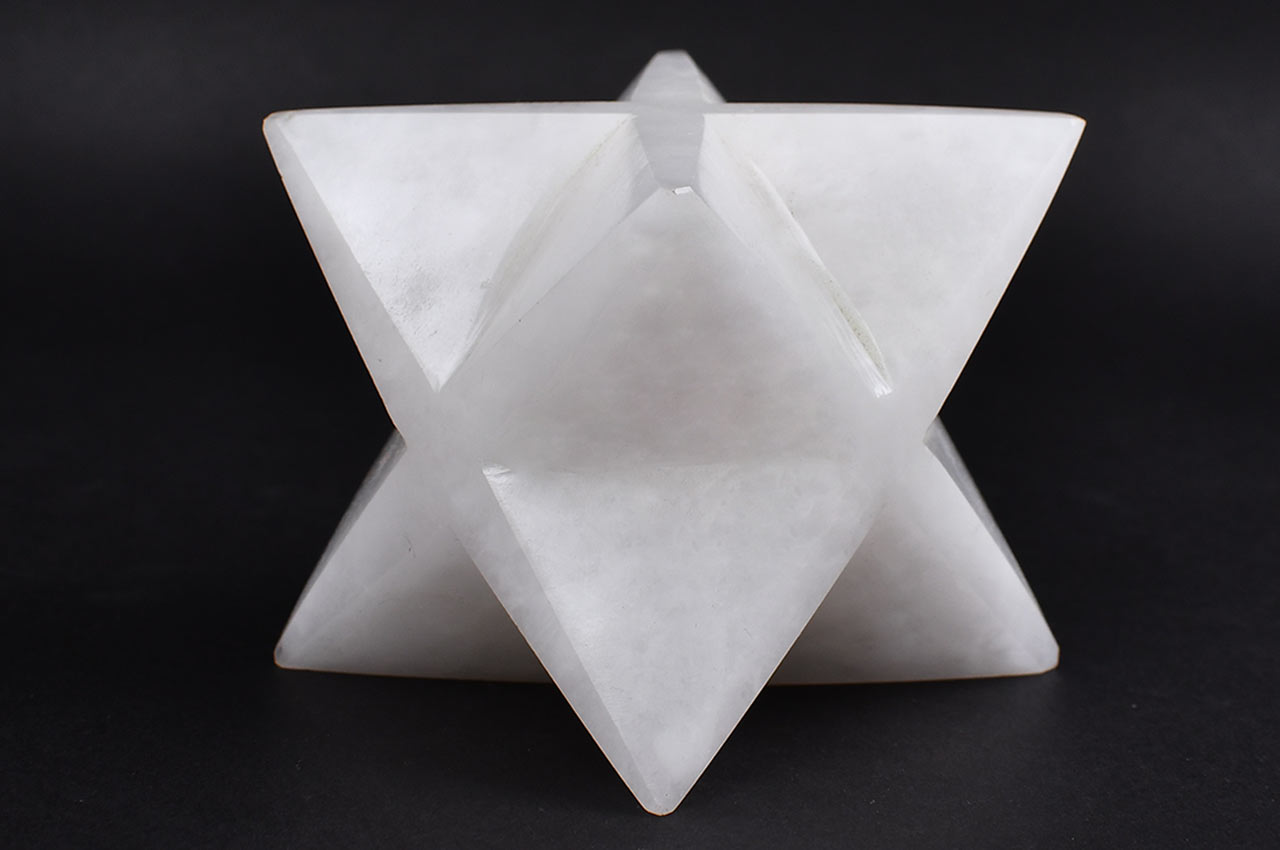 Star Pyramid in Natural White Agate - 309 gms