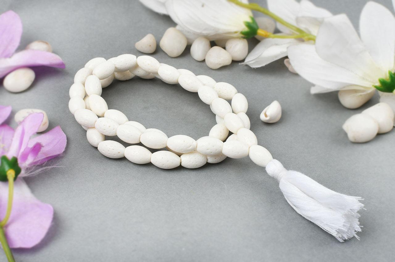 White Coral mala - Barrel shaped beads