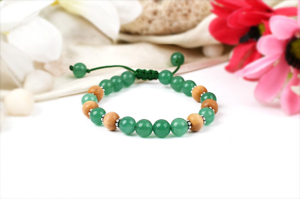 White Sandal and Green Jade Bracelet