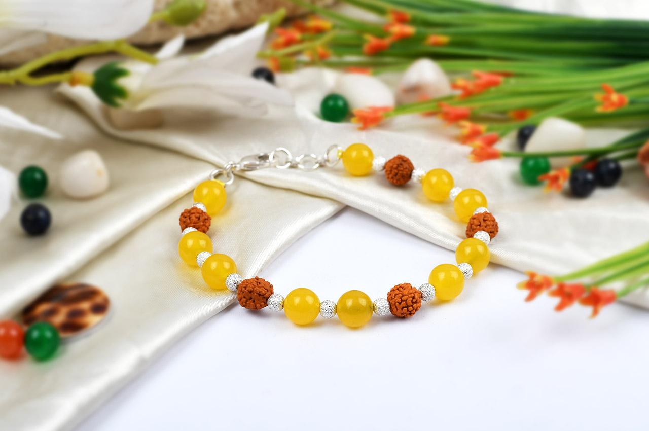 Yellow Agate and Rudraksha Bracelet - Design I