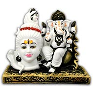 Ganapathi With Shiva in Bonded Marble