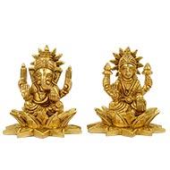 Ganesh Lakshmi Brass Idol