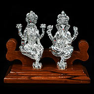 Ganesh Laxmi Idol in Pure Silver with Wooden Stand
