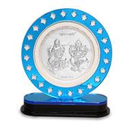 Ganesh Laxmi in silver with frame - V