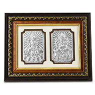 Ganesh Laxmi in silver with Wooden frame - I