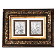 Ganesh Laxmi in silver with Wooden frame