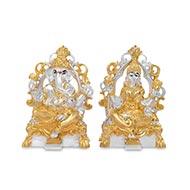 Ganesh Laxmi with gold silver coating