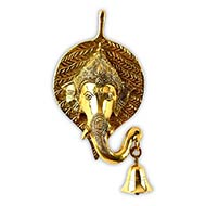 Ganesha Face in leaf with Bell Hanging - Wall Artifact