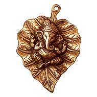 Ganesha on Leaf in copper