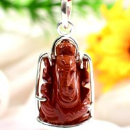 Gemstone Ganesha Locket in pure silver