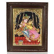 Goddess Radha Krishna Tanjore Painting