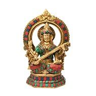 Goddess Saraswati Idol with Stone Work - II