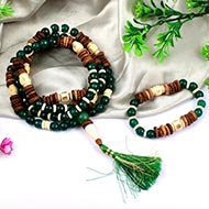 Green Agate mala and bracelet (Heart)