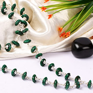Green Emerald beads mala in Silver