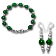 Green Onyx Bracelet and Earrings set - 10mm