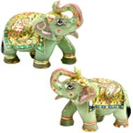 Green Jade Elephants - set of 2 - I