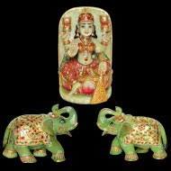 Green Jade Gaja Lakshmi with set of 2 Elephants
