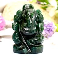 Green Jade Ganesha - Right Trunk - 77 gms