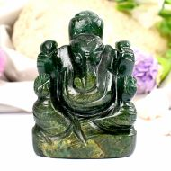 Green Jade Ganesha - Right Trunk - 94 gms