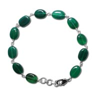 Green Onyx Oval Bracelet - 8mm - Design II